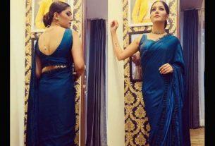 sapna-choudhary-in-blue-saree