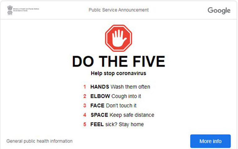 google-showing-five-coronavirus-tips