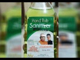 Punjab and Haryana CM Photos on Sanitizer Bottles