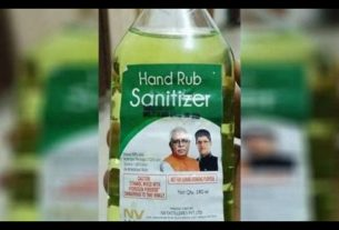 Punjab and Haryana CM Photos on Sanitizer Bottles